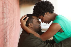 Portrait of an African American loving couple. royalty free stock photo