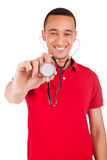 Portrait of African American male doctor or nurse smiling isolat Royalty Free Stock Photography
