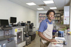 Portrait of an African American male at paint section in super market Royalty Free Stock Images