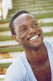 Portrait of an african american man laughing outdoors Stock Images