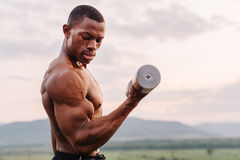 Portrait of african american muscular athlete lifting dumbbells against the sunset sky background Royalty Free Stock Image