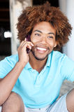 Portrait of African American on phone Stock Photos