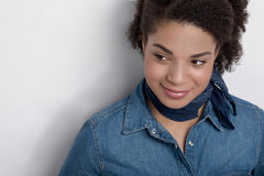 Portrait of an African American woman. Against a bright background Stock Image