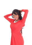 Portrait of African American woman red dress. Stock Photos