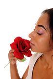 Portrait of african american woman with rose. Stock Image