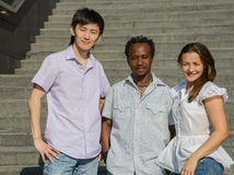 Portrait of african, asian and european students Royalty Free Stock Image