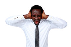 Portrait of african businessman shouting Stock Photography
