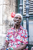 Portrait of african cuban woman smoking cigar in Havana, Cuba Royalty Free Stock Images