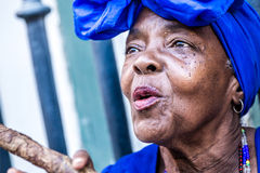 Portrait of african cuban woman smoking cigar in Havana, Cuba Royalty Free Stock Photography