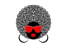 Portrait African curly Women , dark skin female face with hair afro and glasses on isolated background Royalty Free Stock Photos