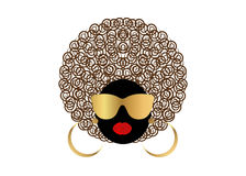 Portrait African curly Women , dark skin female face with hair afro and gold glasses on isolated background Stock Photos