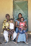 Portrait of an African Family. Outside his home in Ouagadougou stock image