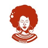 Portrait of an African girl with closed eyes. Haircut, curly hair of medium length. Traditional ornaments. Vector illustration royalty free illustration