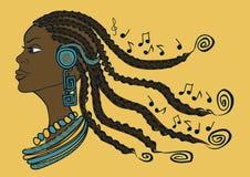 Portrait of African girl with dreadlocks. Lestening to music through headphones stock illustration