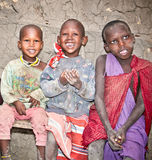 Portrait on an African Kids of Masai  tribe village, Tanzania. Royalty Free Stock Photography