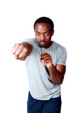 Portrait of african man boxing Royalty Free Stock Image