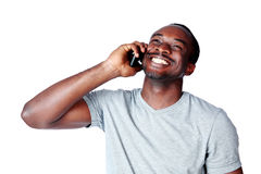 Portrait of african man talking on the phone Royalty Free Stock Photography
