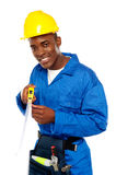 Portrait of african repairman with measuring tape. Isolated over white Stock Photos