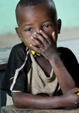 Portrait of the African schoolboy. Stock Photos