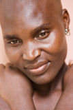 Portrait  African woman. Village African woman no makeup, natural beauty, cancer patient Royalty Free Stock Images