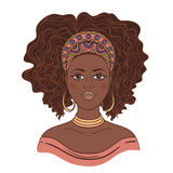 Portrait of African woman. Hand drawn vector illustration Stock Photo