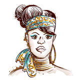 Portrait of African woman. Hand drawn vector illustration Stock Images