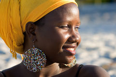 Portrait of african woman with scarf Royalty Free Stock Image