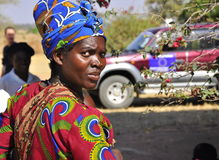 Portrait african women with colorful clothes. Portrait of happy  african women with colorful african clothes, EU car on the background, election observation Royalty Free Stock Photos