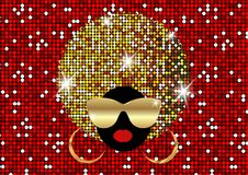 Portrait African Women , dark skin female face with shiny hair afro and gold metal sunglasses in traditional ethnic golden turban. Hairstyle concept, cover for Stock Photography