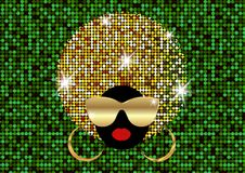 Portrait African Women , dark skin female face with shiny hair afro and gold metal sunglasses in traditional ethnic golden turban. Hairstyle concept, cover for Royalty Free Stock Images