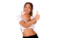 Portrait Of african Young Woman Showing Thumb up sign Stock Image