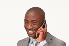 Portrait of an Afro-American businessman on phone Stock Photography