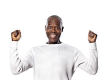 Portrait an afro American man a success mimic Royalty Free Stock Photos