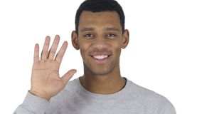 Portrait of Afro-American man waving hand to welcome stock footage