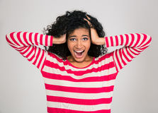 Portrait of afro american woman screaming. Portrait of a young afro american woman screaming isolated on a white background Stock Photography