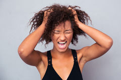 Portrait of afro american woman shouting Stock Image