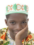 Portrait of an Afro boy smiling, ten years old, isolated Stock Images