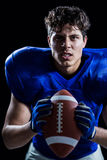 Portrait of aggressive American football player Royalty Free Stock Photography