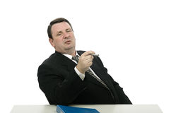 Portrait of aggressive interviewer Royalty Free Stock Photo