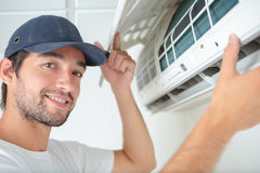 Portrait air conditioning serviceman. Portrait of air conditioning serviceman Royalty Free Stock Photos