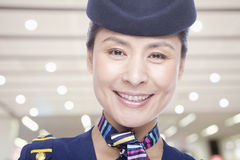 Portrait of air stewardess Stock Photo