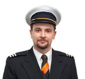 Portrait of an airline pilot. Isolated portrait of an airline pilot Royalty Free Stock Photography