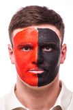 Portrait Albanian football fan in game support of  Albania national team Royalty Free Stock Image