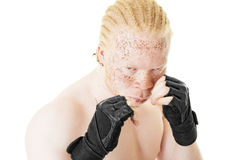 Portrait of a Boxer. Portrait of an albino African-American boxer on white background stock photography