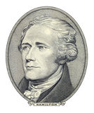 Portrait of Alexander Hamilton. Portrait of U.S. army officer, constitutional lawyer and Founding Father Alexander Hamilton as he looks on ten dollar bill Royalty Free Stock Photography