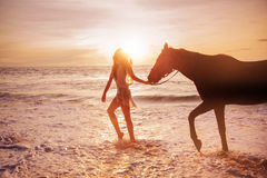 Portrait of an alluring woman with a horse. Portrait of an alluring woman with a majestic horse Royalty Free Stock Photography