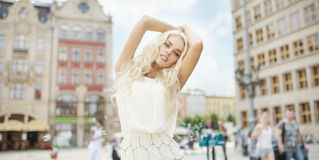 Portrait of the alluring woman in the old town Royalty Free Stock Images