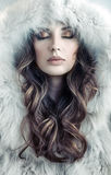 Portrait of an alluring, young lady winter. Portrait of an alluring, fresh lady winter stock photo