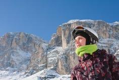 Portrait alpine skier. Selva di Val Gardena, Italy Stock Photography