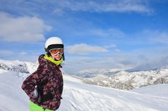 Portrait alpine skier.  Selva di Val Gardena, Italy Royalty Free Stock Photo